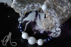 Sapphire, moonstone & clear quartz