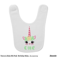 Unicorn Baby Bib Pink  Birthday Baby Bib