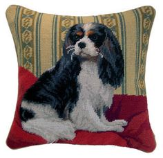 Tri Cavalier King Charles Spaniel Needlepoint Pillow – For the Love Of Dogs - Shopping for a Cause