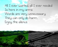 Depeche Mode - Enjoy the Silence. This was my favorite song the past week
