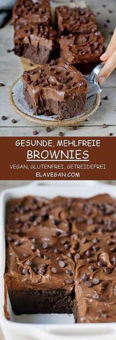 These flourless brownies with a sweet potato frosting are absolutely delectable. These flourless brownies with a sweet potato frosting are absolutely delectable. They are vegan, gluten-free, oil-fr Patisserie Sans Gluten, Dessert Sans Gluten, Healthy Desserts, Dessert Recipes, Lunch Recipes, Baking Recipes, Desserts Sains, Chocolate Chip Cookie Dough, Chocolate Chips