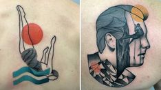 Marius Trubisz minimalist tattoo work features stylized portraits of pop-culture icons, naked women, and bright splashes of color. This Polish artist's work is simple and calming. The dainty lines intersect with transparent color shapes in a flat, graphic style. By removing extraneous detail, Tr...