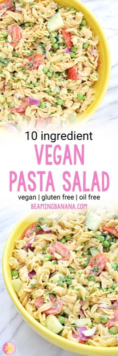 Vegan Pasta Salad - Sweet Vegan Sara This vegan pasta salad is the perfect summer potluck dish! Made with superfood pasta and an oil free hummus dressing, it's a super simple and healthy twist on the classic recipe. Healthy Pasta Salad, Vegan Pasta, Whole Food Recipes, Diet Recipes, Healthy Recipes, Healthy Food, Healthy Eating, Cooking Recipes, Hummus Dressing