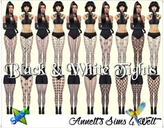 Sims 4 CC's - The Best: Black & White Tights by Annett85