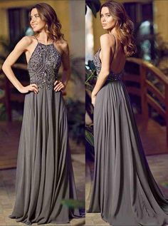 A-Line Halter Sleeveless Floor-Length Backless Grey Chiffon Prom Dress with Beading with cheap wholesale price, Buy Special Occasion Dresses at Simple-dress.com !