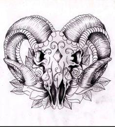 Ram sugar skull. Thigh piece idea.