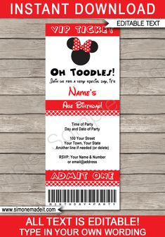 Red Minnie Mouse Party Ticket Invitation Template | Minnie Mouse Birthday Party Ticket Invite | Minnie Mouse Theme Party | Editable & Printable Template | INSTANT DOWNLOAD via simonemadeit.com #minniemouseparty #minniemouseinvitation #minniemouseinvite Cupcake Invitations, Ticket Invitation, Birthday Invitations, Invite, Minnie Mouse Theme Party, Red Minnie Mouse, Mouse Parties, Printable Tickets