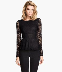 Long-sleeve peplum top in black lace, with low-cut V-neck & lacing in back. | H&M Divided