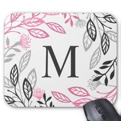 Abstract Floral Frame Monogram | Mousepad - floral style flower flowers stylish diy personalize