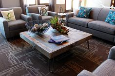 Reclaimed Wood Square Coffee Table, Hairpin Legs.