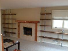 Omaha Pipe Shelves Design Ideas Midcentury Living Room