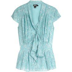 DKNY Aqua Metallic Raindrop Cap Sleeve Tie Blouse ($47) ❤ liked on Polyvore
