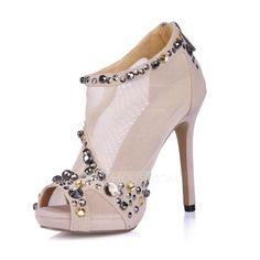 Pumps - $67.99 - Velvet Fabric Stiletto Heel Peep Toe Platform Sandals Ankle Boots With Rhinestone Zipper (085026361) http://jjshouse.com/Velvet-Fabric-Stiletto-Heel-Peep-Toe-Platform-Sandals-Ankle-Boots-With-Rhinestone-Zipper-085026361-g26361