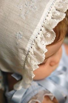 The Old Fashioned Baby Sewing Room: White Wednesday - Baby in a White Bonnet