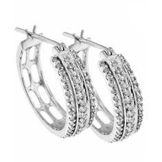 9ct White Gold Earrings Hoop Três Row Diamond - Jóias - Mulher - Freemans, found on polyvore.com