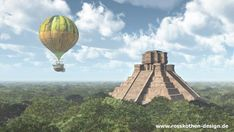 Mayan temple and fantasy hot air balloon by Michael Rosskothen