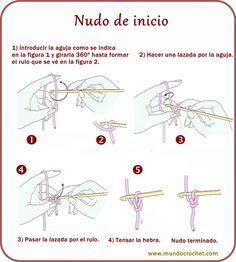 Nudo de inicio crochet - Aprender a tejer crochet - Learn to crochet - научиться вязанию крючком