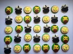 Edible fondant dozen Safari animal cupcake toppers by SabzCakes