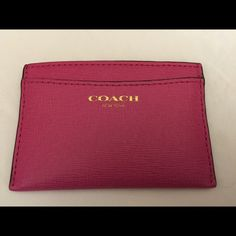 Coach Saffiano Leather Flat Card Case NO TRADES, NO PAYPAL In mint condition * Used for less than a week * Style #49996 * Saffiano leather in pink with brass lettering * One front and center slip pocket and two on back * 100% authentic * No rips, stains, holes * Includes care card, retail tag * MIGHT have the box but if I find it I'll update this listing Coach Bags