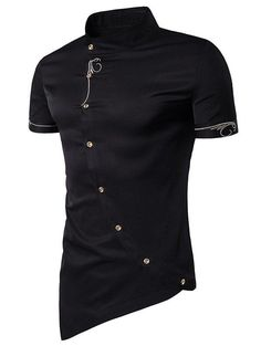 Short Sleeve Mandarin Collar Embroidered Novelty Shirt - BLACK XL