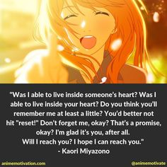 The Only Meaningful Quotes From Your Lie In April Worth Seeing