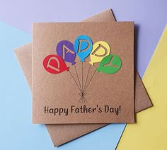 Handmade Daddy balloons card Birthday card for dad First | Etsy First Fathers Day, Fathers Day Cards, Happy Fathers Day, Dad Birthday Card, Birthday Fun, Etsy Shop Names, Rainbow Colours, Hand Logo, Message Card