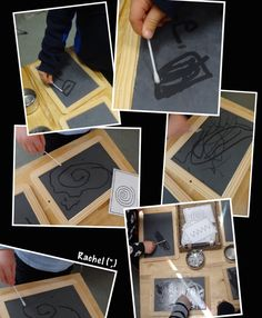 """Mark making with water and cotton buds on chalkboards... from Rachel ("""",)"""
