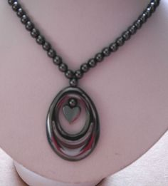 """HEMATITE BEAD STRAND WITH 1 1/2"""" OVAL DROP WITH CENTER HEART NECKLACE 18"""" NEW!  #Unbranded #BeadedStrand"""