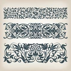 vector set vintage ozdobený hranice rámečku filigrán s retro ornament vzor v antickém barokním stylu arabské dekorativní kaligrafie konstrukce Reklamní fotografie