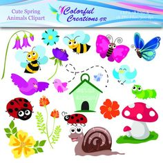 20 % OFF SALE Spring Animals Digital Clipart, Cute Animal Digital Images, Spring Animals Clipart, Bees, Butterfly, Personal & Commercial Use Colorful Animals, Cute Animals, Baby Girl Boots, Spring Animals, Cute Bee, Hello Spring, Little Birds, Digital Stamps, School Projects
