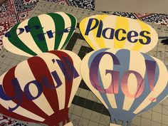 Dr. Seuss, Oh the Places You'll Go hot air balloons cut in Cricut with cardstock and holographic vinyl