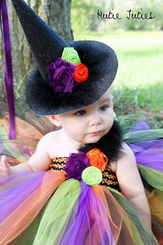 Glitter Witch Hat- Halloween, Costume, Pageant, Black, Green, Purple, Orange, Feathers, baby girl, infant, toddler, child, photo prop