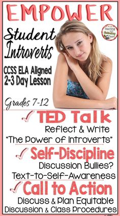 """EMPOWER STUDENT INTROVERTS! Bring balance to discussions and increase awareness of those who tend to dominate discussions and seek attention during class time.This ELA CCSS aligned 2-3 day lesson increases self + group awareness & enhances students' understanding of one another. TED Talks episode """"The Power of Introverts"""" with Susan Cain. Finally, it brings a call to action for your students to develop an action plan to balance class discussion time, and that honors everyone's learning…"""