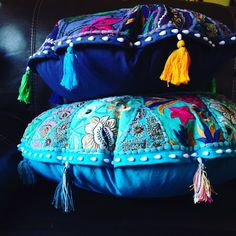 """Beautiful 28"""" Teal Embroidered Mediation Cushion Stunning, hand sewn Meditation Cushions. This particular one is 28"""" and Teal in color. MANY MORE COLORS AND SIZES AVAILABLE. YOU CAN BUY JUST THE COVER, OR FULL OF POLYFIL UP TO 22"""". JUST ASK FOR MORE DETAILS. Other"""