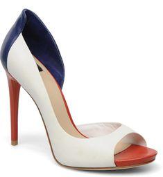 rojo, blanco y azul peep dedos de los pies