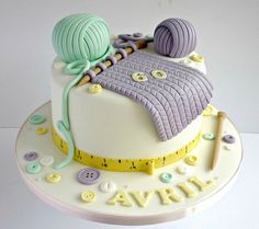 Knitting themed birthday cake in pastel colours 100% edible! Via https://www.flickr.com/photos/swirlsbakery/13765350705/
