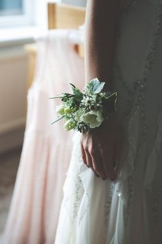 White and green wrist corsage