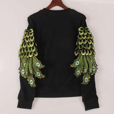 2016 new year sweatshirt women peacock feathers sequined hoody hoodies fashion tracksuits pullovers women woman tops Sakura