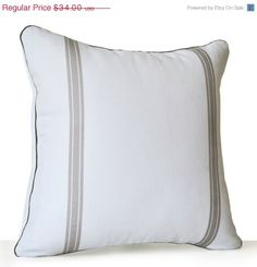 4th of July SALE Decorative Pillow Cover White Grey by AmoreBeaute