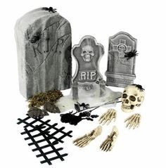 This fantastic tombstone collection can be used indoors or outdoors to create a perfect graveyard scene. This 24 piece kit includes a 57cm x 35cm foam tombstone, bones, a skull, set of hands and feet, a picket fence, rats, spiders, black roses, moss and spiderweb.