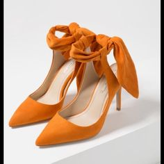 High heels by ZARA SLINGBACK HIGH HEEL SHOES WITH BOW Orange high heel slingback shoes. Rear bow detail. Pointed toe.  Heel height of 9.0 cm. suede feel material. Brand new, in original box, tag on box, not on shoes! Zara Shoes Heels