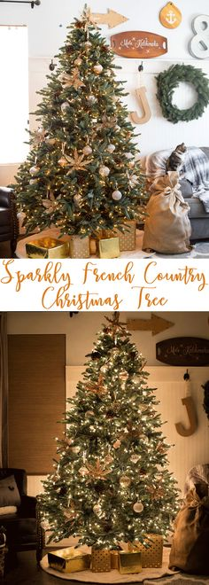Sparkly French Country Christmas Tree with Balsam Hill with gorgeous ombre, crackled mercury glass and white sparkly ornaments. @balsamhill  #BalsamHill #BHTasterMakers #BalsamHillat10