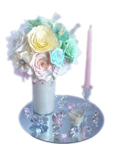 Mint green, pinks and ivory wedding centerpieces, Baby shower decor, bridal shower decor, Faux floral decor, Paper flower decor - pinned by pin4etsy.com