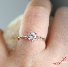 Morganite Solitaire Antique style filigree ring by WanLoveDesigns, $449.00