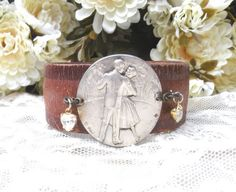 upcycle leather cuff assemblage dance bracelet by lilyofthevally