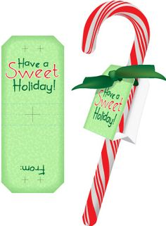Free Christmas Printables - candy cane labels for kids to give to classmates