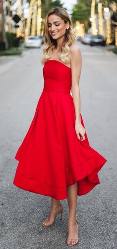 #winter #outfits red strapless midi dress