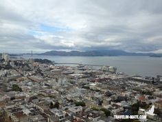 View from Coit Tower over SF Bay and Golden Gate Bridge