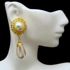 Gorgeous Bridal Vintage Chunky Pierced Earrings Huge Faux Pearl Teardrop Dangles from www.myclassicjewelryshop.com $49.95