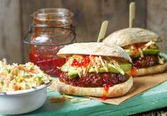 Served in toasted rolls and topped with a crunchy buttermilk slaw, these beef and beet burgers will make Dad's day.   Tesco